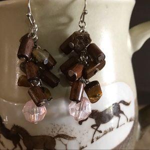 Cute Wood and Pink Crystal Earrings